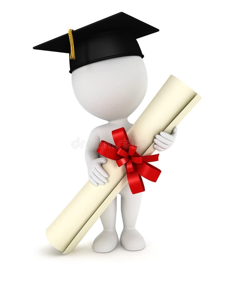 3d毕业生人白色 库存例证