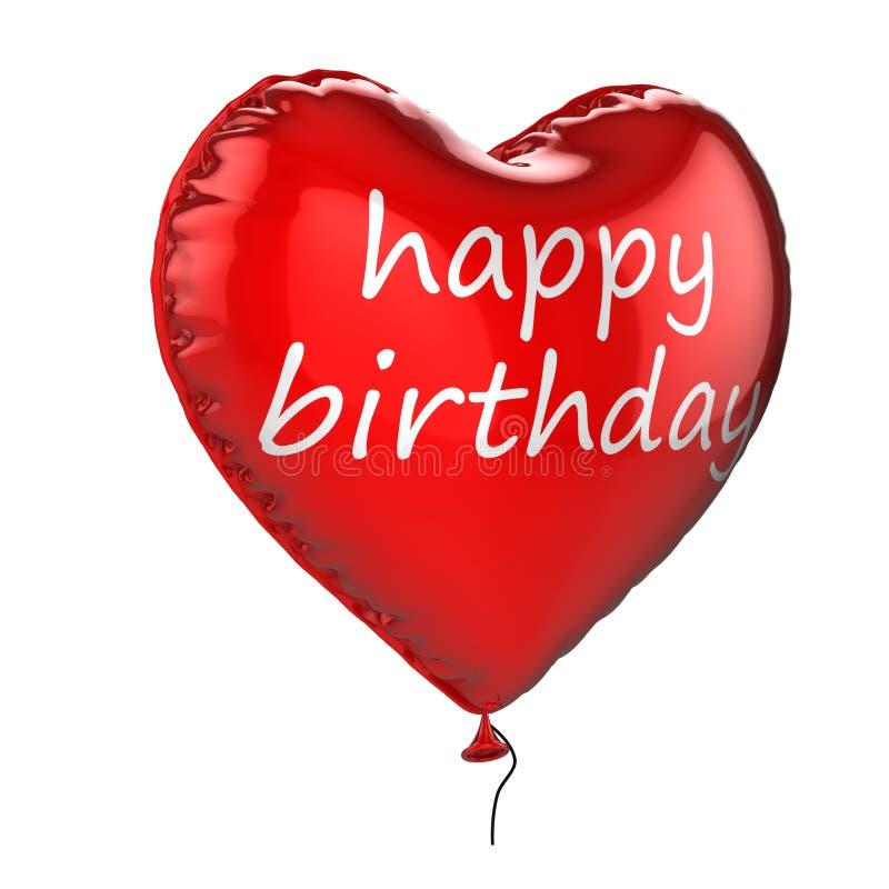 3d气球生日愉快的氦气 库存例证