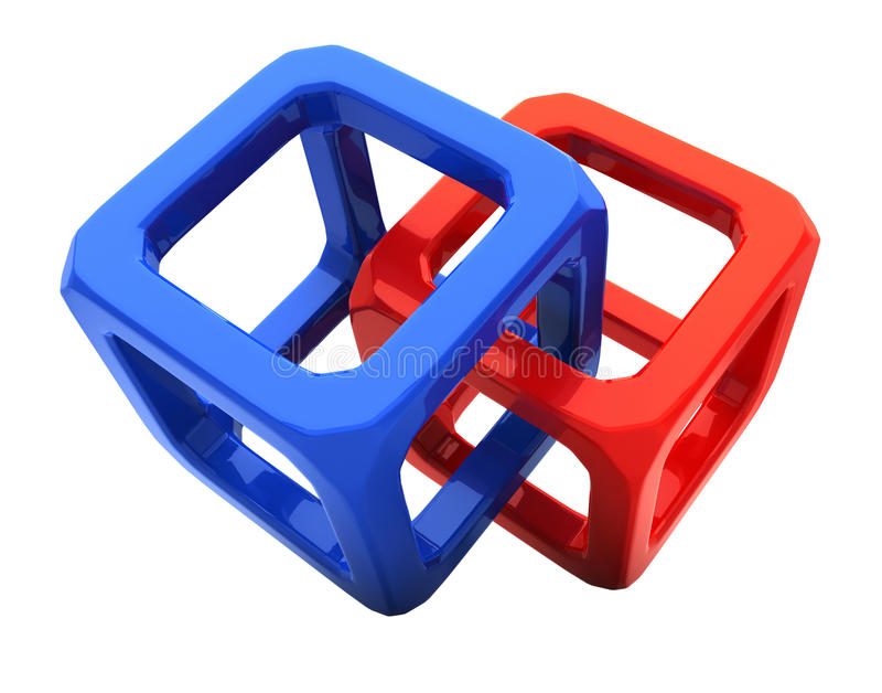 3d求符号的立方 库存例证