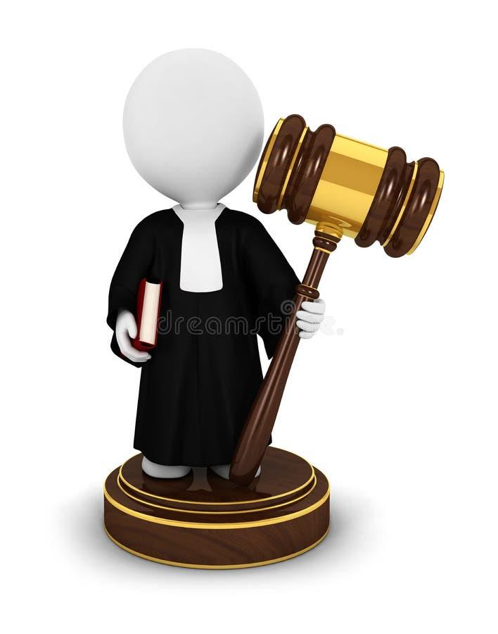 3d法官人白色 皇族释放例证