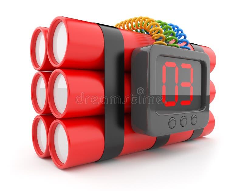 3d炸弹读秒图标定时器白色 库存例证