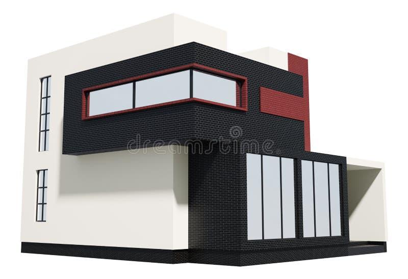 3d现代外部的房子 皇族释放例证
