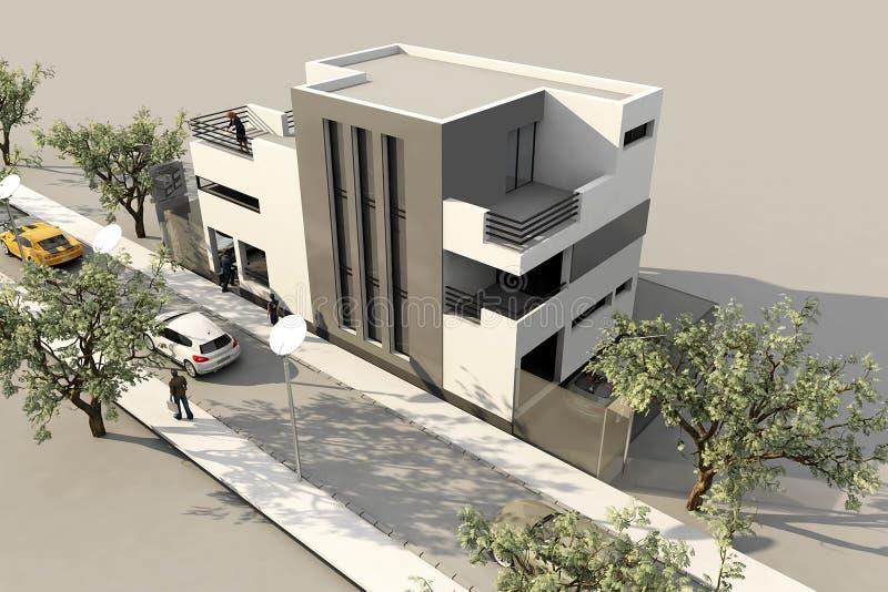 3d现代房子,在3ds使最大,在空白backg 免版税图库摄影