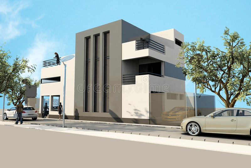 3d现代房子,在3ds使最大,在空白backg 库存例证