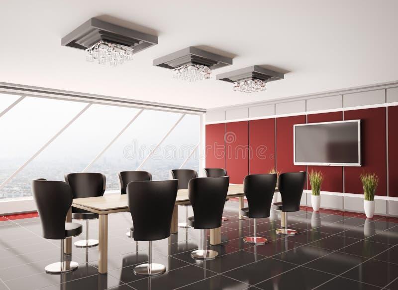 3d现代的会议室内部lcd 皇族释放例证
