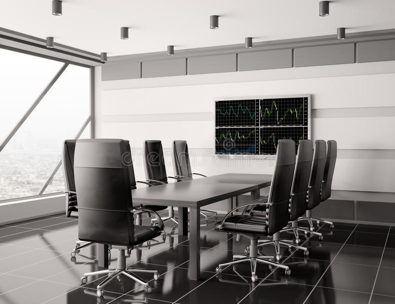 3d现代的会议室内部lcd 库存例证