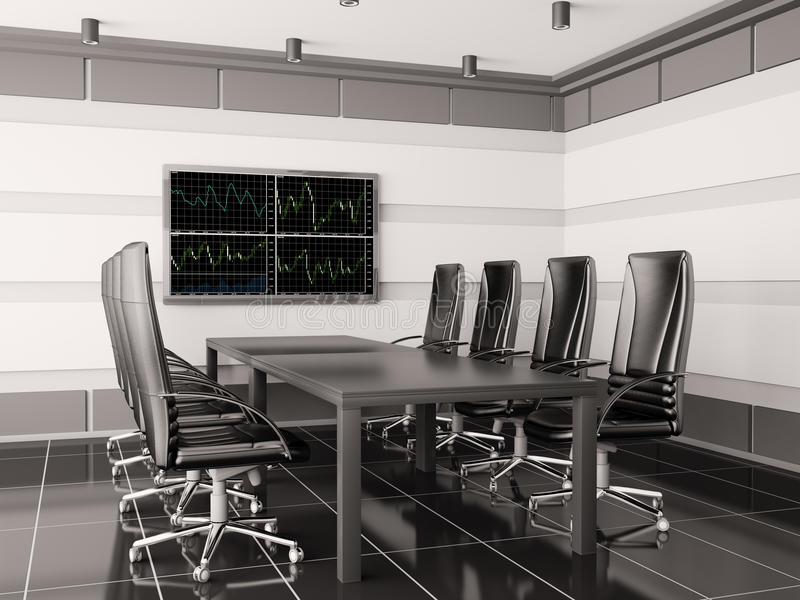 3d现代的会议室内部lcd 向量例证
