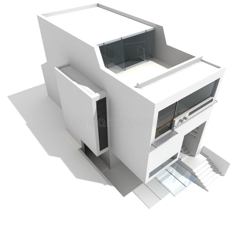 3d现代的房子 库存例证