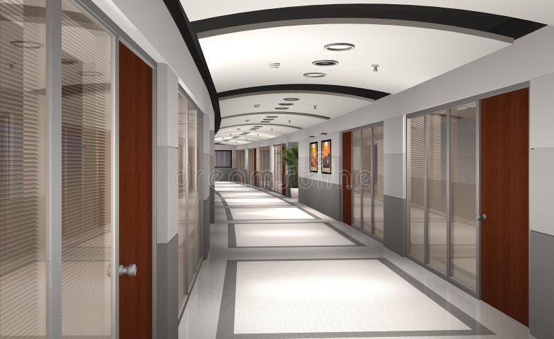 3d现代走廊的旅馆 库存例证