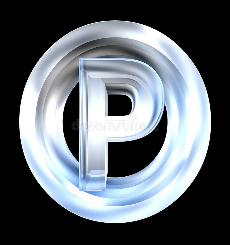 3d玻璃停车符号 皇族释放例证