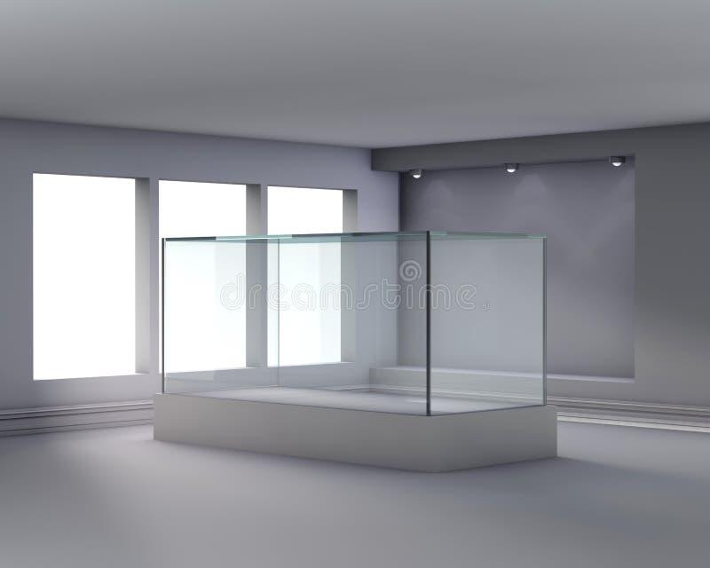 3d玻璃适当位置陈列室聚光灯 库存例证