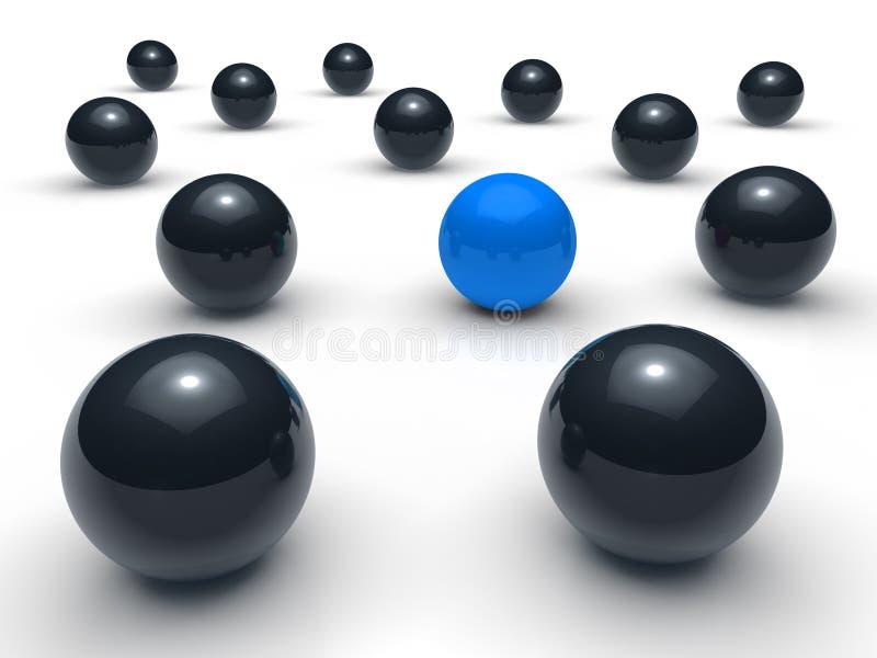 3d球黑色蓝色网络 库存例证
