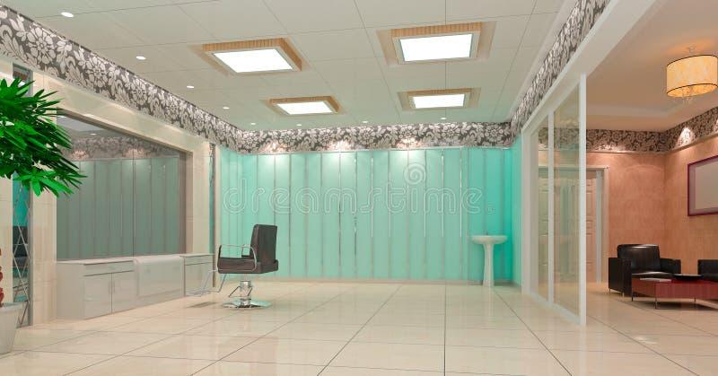 3d理发师发廊界面 向量例证