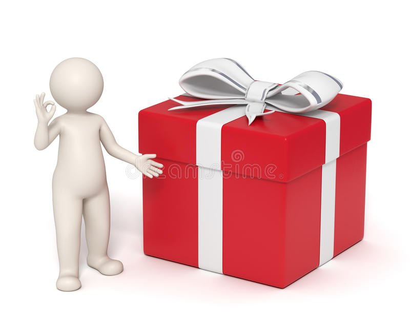 3d理想礼品的人 向量例证