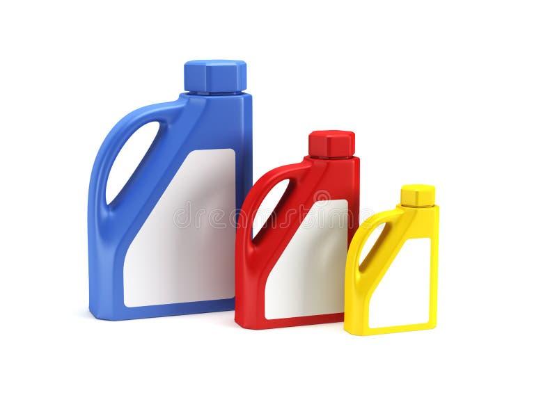 3d瓶查出的机油rende 向量例证