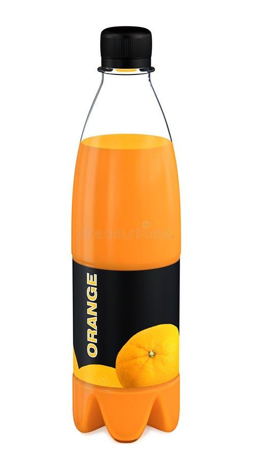 3d瓶汁液橙色塑料回报 向量例证