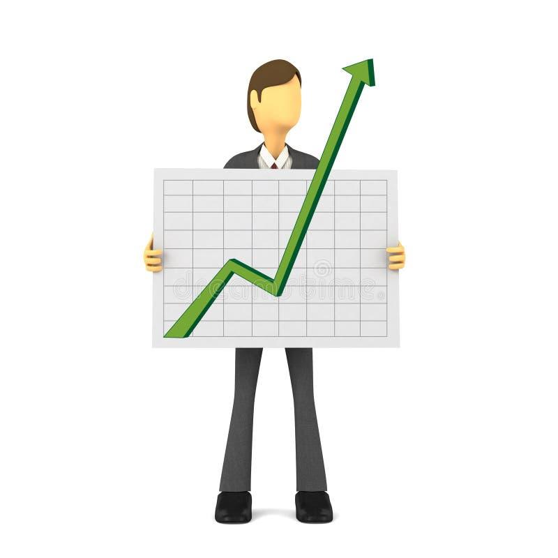 3d生意人增长 库存例证