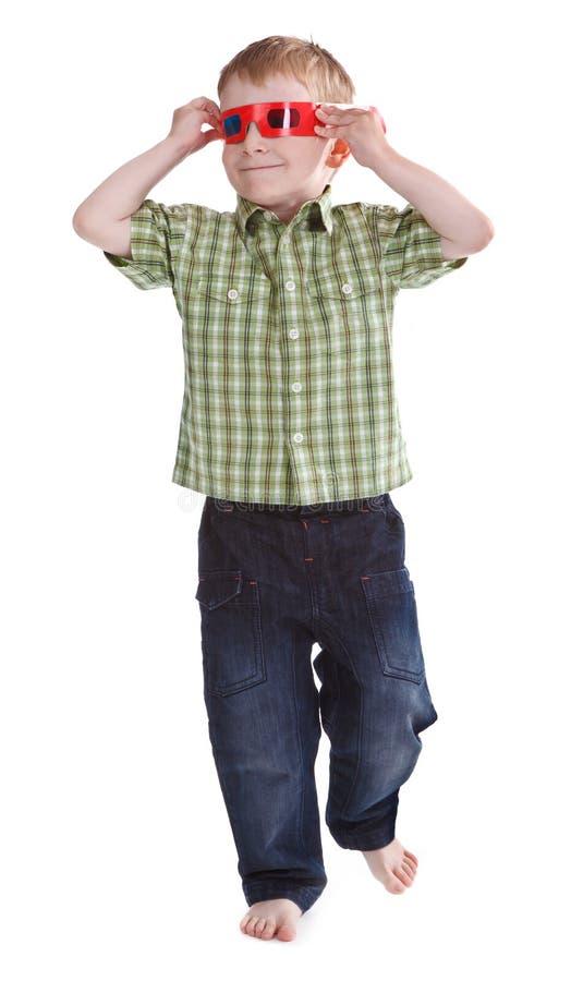 3d男孩有乐趣的玻璃佩带 免版税库存图片