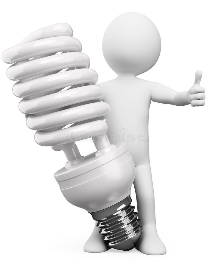 3D白人。 节能器电灯泡 库存例证