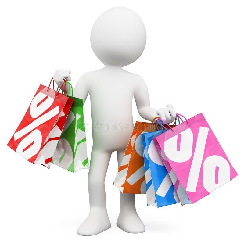 3D白人。 购物销售额 向量例证