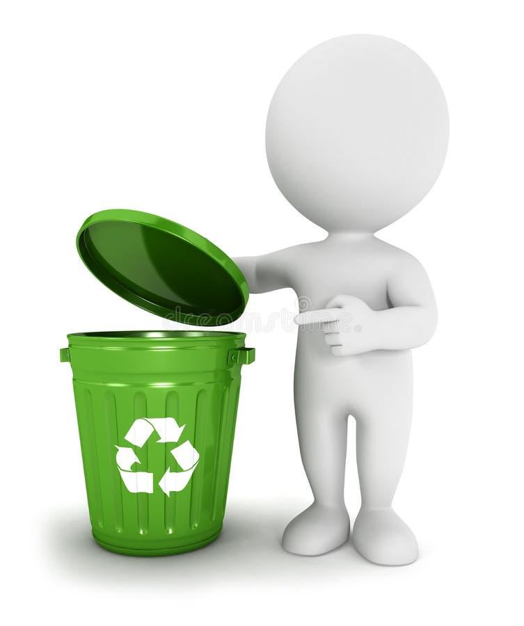 3d白人员回收垃圾箱 库存例证