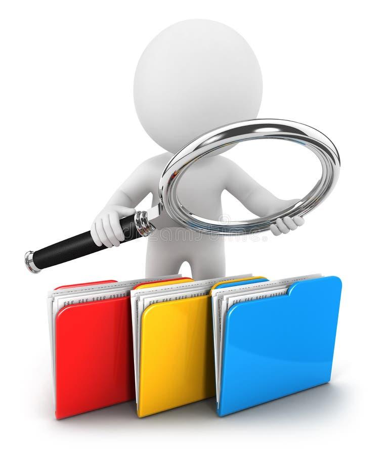 3d白人检查文件 库存例证