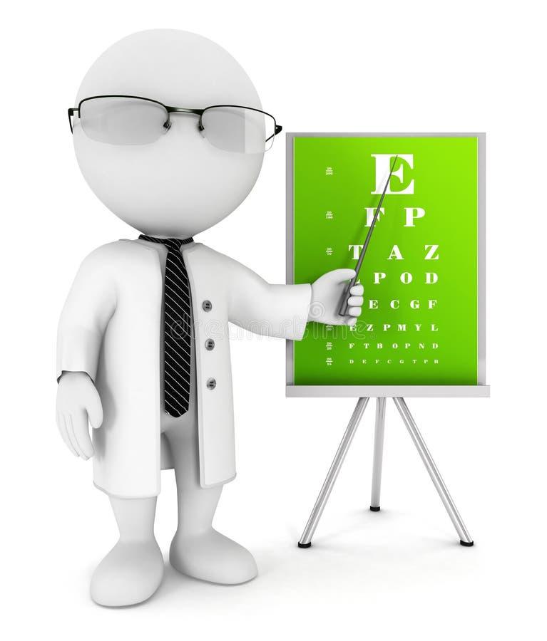 3d白人眼镜师 向量例证