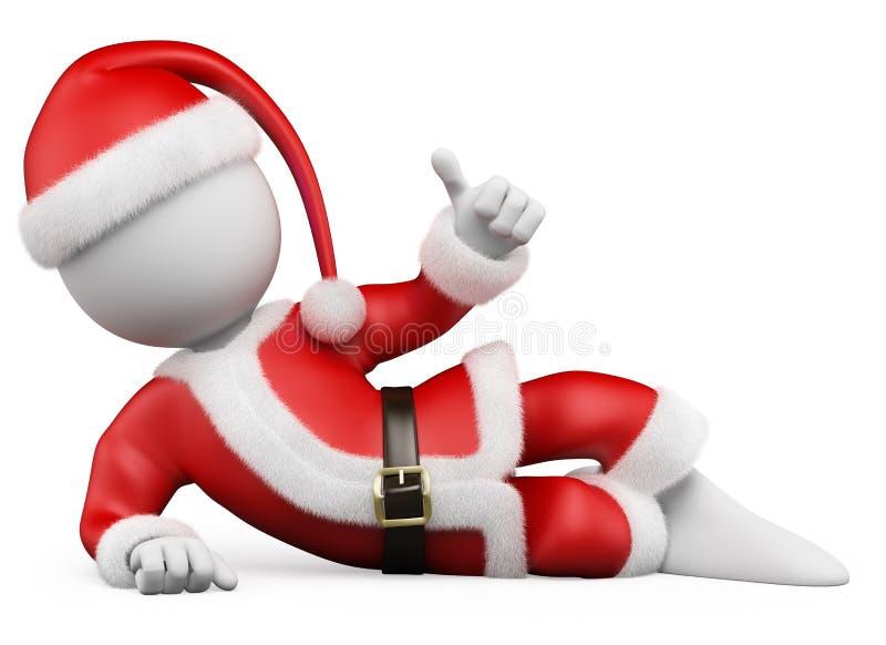 3D白色人。 位于与赞许的圣诞老人 库存例证