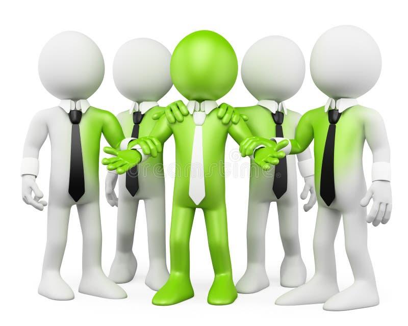3D白色人。 绿色配合 库存例证