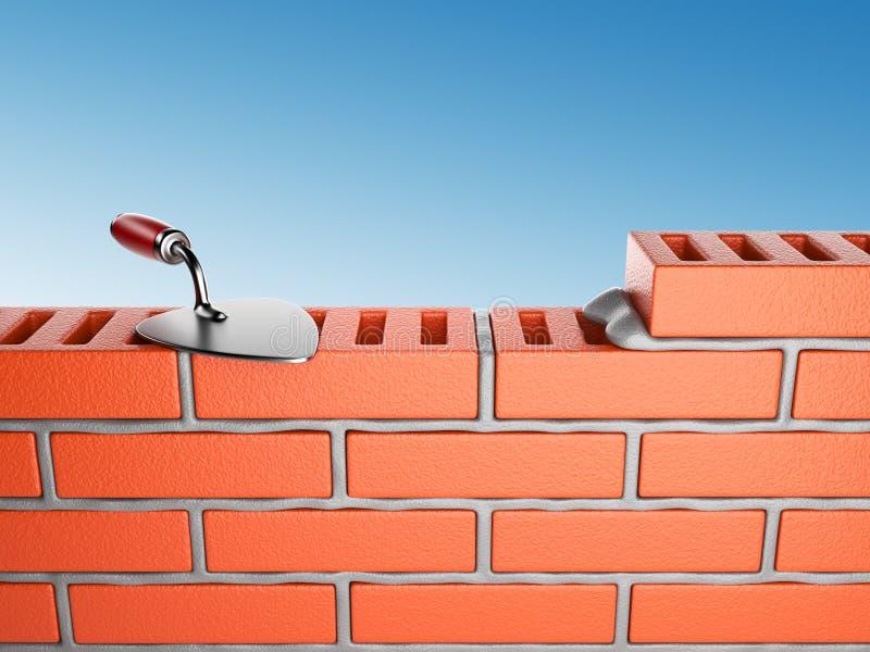 3d砖安排修平刀墙壁工作 向量例证