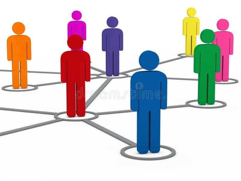 3d社会通信人网络 向量例证