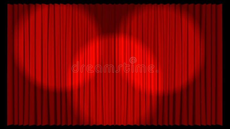 3d窗帘说明的红色剧院 皇族释放例证