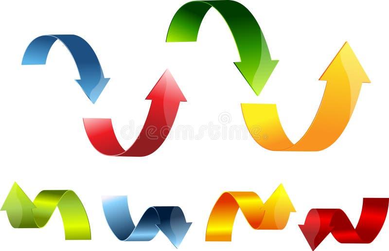 3d箭头五颜六色的集 向量例证