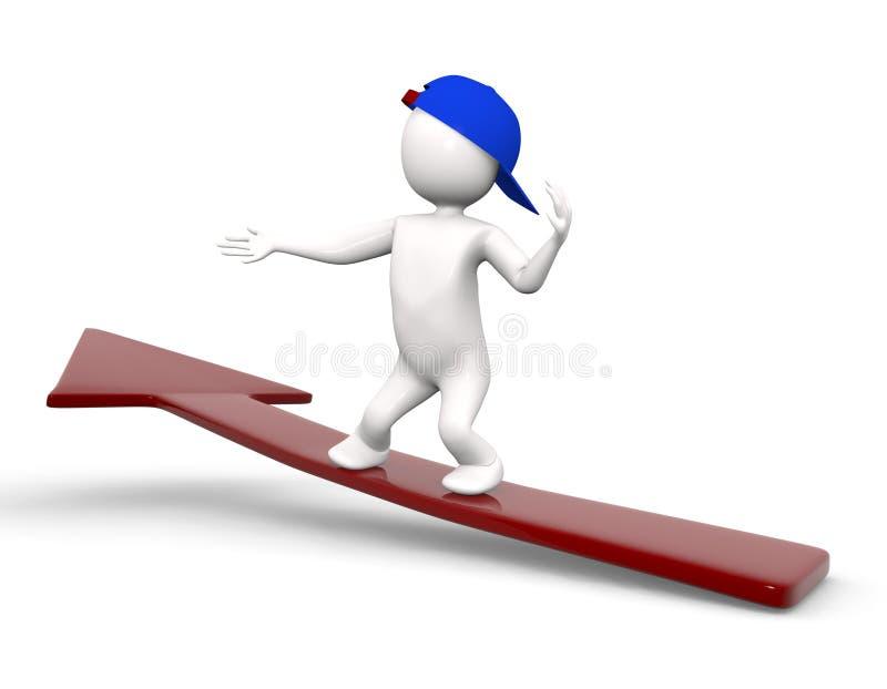 3d箭头人滑板 免版税库存图片