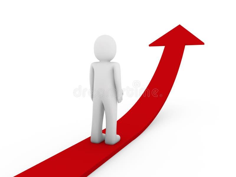 3d箭头增长人力红色 向量例证