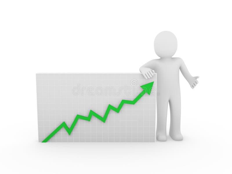 3d箭头增长人 向量例证