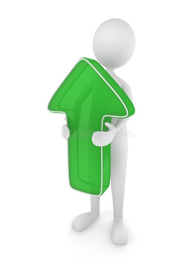 3d箭头绿色藏品人 向量例证
