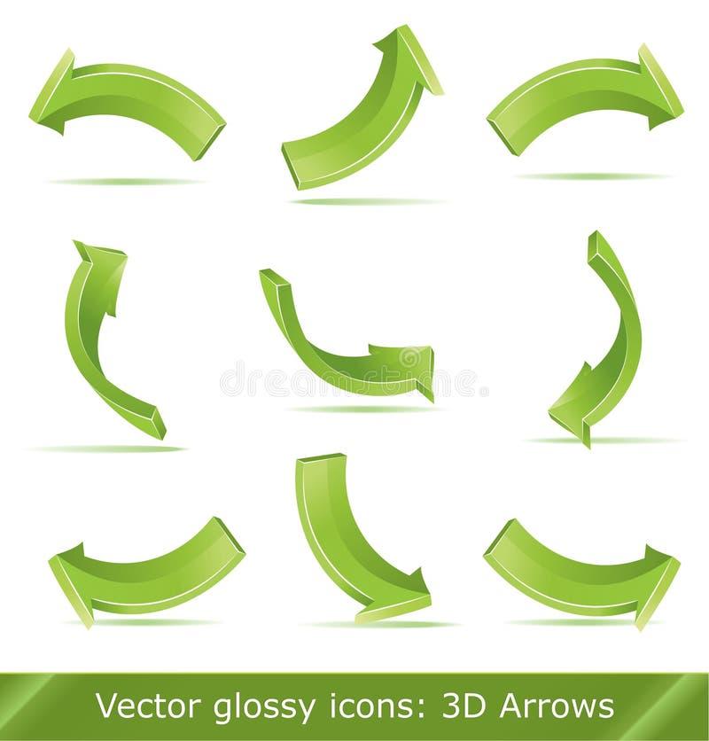 3d箭头绿色集 向量例证