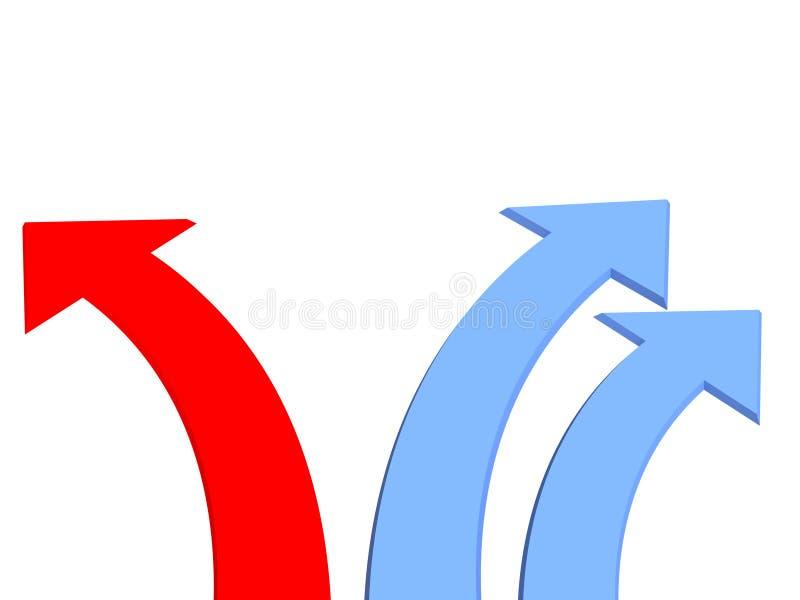 3d箭头蓝色黑暗一个红色三二 库存例证