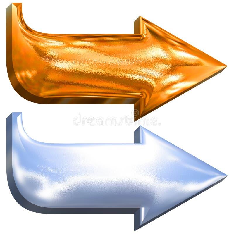 3d箭头镀铬金黄金属 向量例证