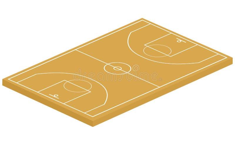 3d篮球场 库存例证
