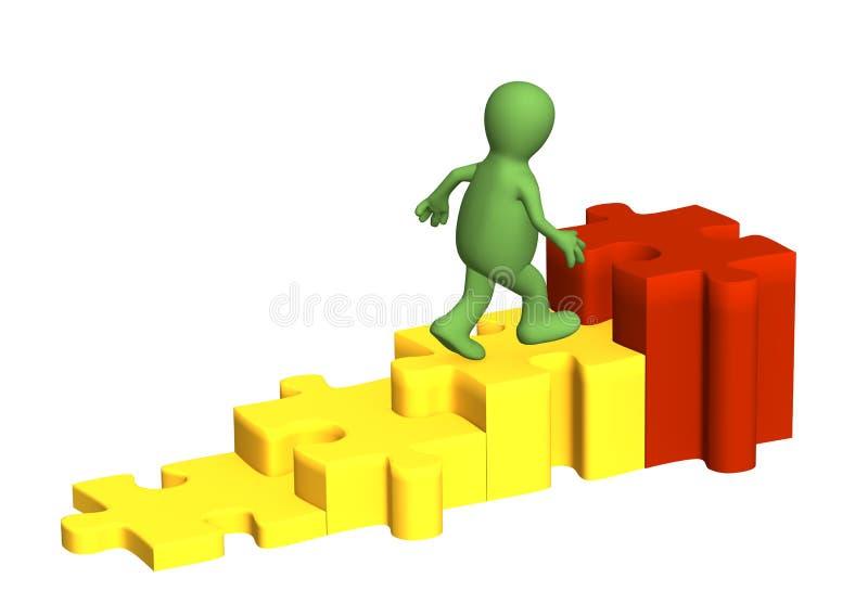 3d绘制上升人员的木偶下 向量例证
