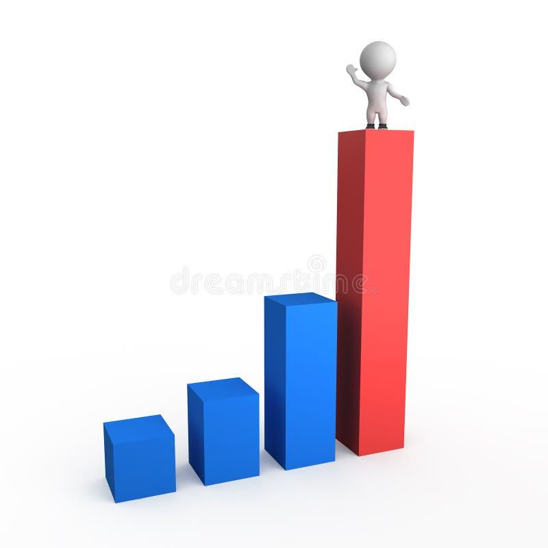 3d绘制增长例证图表 库存例证