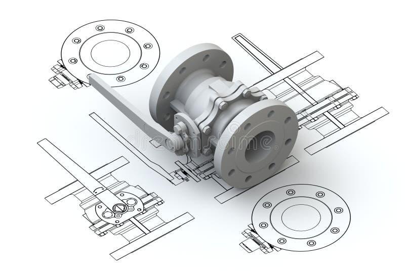 3d绘制模型阀门图表 向量例证