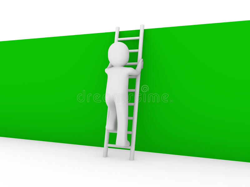 3d绿色人力梯子墙壁 库存例证