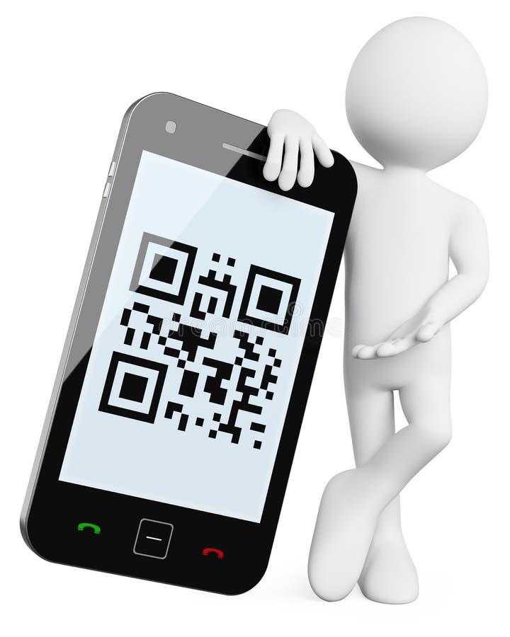 3d编码人移动电话qr 皇族释放例证