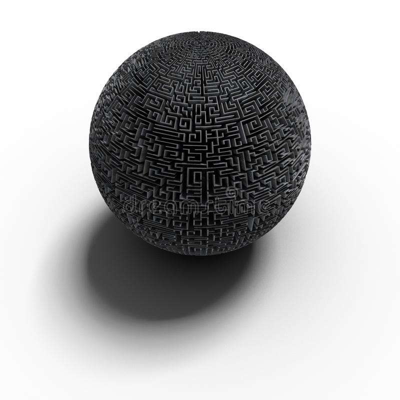 3d罚款球状的迷宫 皇族释放例证