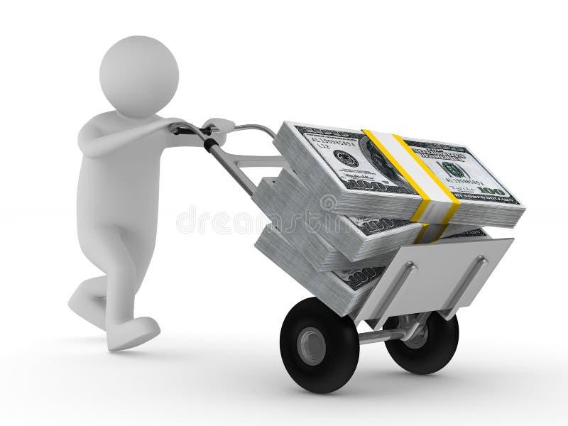 3d美元现有量查出人推进卡车 向量例证