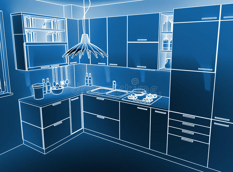 3d背景厨房 免版税图库摄影