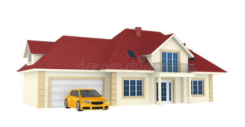 3d背景房子查出的白色 向量例证